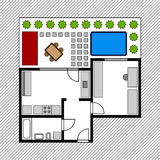 House floor plan with garden Stock Photography