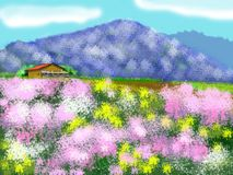 The house on the flower field. Graphic computer vector illustration