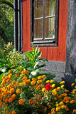 House and flowers Stock Images