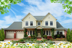 House with flowers Royalty Free Stock Images