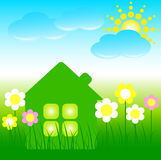 House with flowers, blue clouds and a sun Royalty Free Stock Image