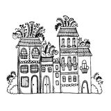 House with flowers on the roof graphic  illustration Royalty Free Stock Photography