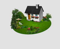 House with flowers and trees on the circle garden Stock Photography