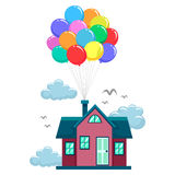 House Fly by Colorful Balloons Royalty Free Stock Photography
