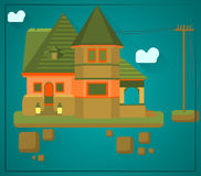 House flying in the sky Royalty Free Stock Image