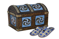 House footwear. House slippers in a dark blue cage and old chest Stock Photo