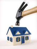 House Foreclosed Under Hammer. House Foreclosed about to be hit by Hammer Royalty Free Stock Photos