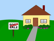 House foreclosure. Yellow house with garden and path for sale due to foreclosure royalty free illustration