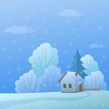 House in forest. Cartoon, winter landscape: country house in forest near to trees Stock Photo