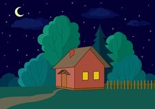 House on forest edge, night. Landscape, : country house on night forest Stock Photo