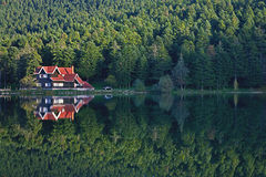 House at the forest lake reflection Golcuk, Turkey royalty free stock photo