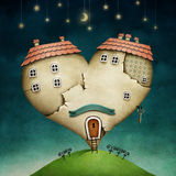 House in form of heart. Illustration or poster with  house in shape of  heart. computer graphics Royalty Free Stock Images
