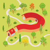 The house in the form of a question mark. Conceptual illustration suitable for advertising and promotion Royalty Free Stock Photo