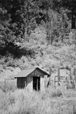 House in the forrest, B/W. Little house in the forrest at Mammoth Mountain CA, black and white Stock Image