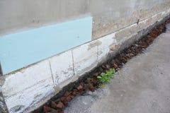 House foundation repair, renovation with styrofoam insulation. royalty free stock photo