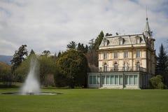 House with fountain in villa taranto Stock Photo