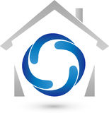 House and Four Drops, Real Estate and Installer Logo Royalty Free Stock Images
