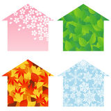 House four-seasons. The houses are decorated at the four seasons Royalty Free Illustration
