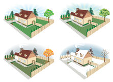 House in Four Seasons. Illustration of a house and yard during the four seasons Stock Photos