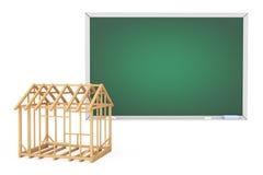 House Frame with Blank Blackboard Stock Photo