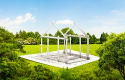 House frame from ruler, construction architecture. Building project, material calculation idea stock photography