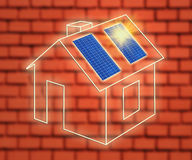 House of frame with solar panels Royalty Free Stock Photo