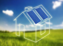 House of frame with solar panels Stock Photos