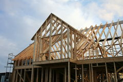 House framework. Framework of house under construction with scaffolding Royalty Free Stock Photo