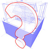 House framework with dimensions and question mark diagram Royalty Free Stock Photo