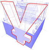 House framework with dimensions and yen or yuan sign diagram Stock Photography