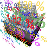 "House framework + ""interest rate percentage"" diagram. Diagram of a simple detached house with many interest rate percents in front of it Stock Photography"