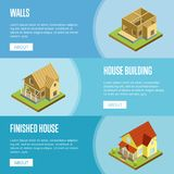 House framework isometric 3d concept. House framework, construction of walls, roof installation and finishing isometric vector illustration. Architectural Stock Photography