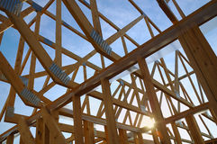 House Framing. Wood framing on a new house under construction royalty free stock image