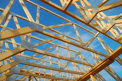 House Framing. Wood framing on a new house under construction royalty free stock photo
