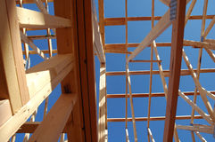House framing. The skeleton of a home under construction Stock Photos