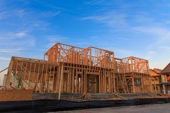 House Framing. New construction of a house in the Mueller neighborhood in Austin, TX Stock Photo