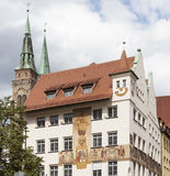 House with frescoed Waaggasse, 2. Nuremberg. Germany. Stock Photography