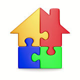House From Puzzle On White. Isolated 3D Stock Images