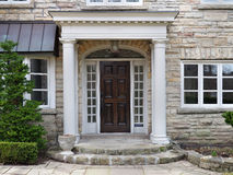 House front door. With portico entrance royalty free stock images