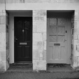 House Front Doors. View of Front Doors of Neighbouring Old English Town Houses Royalty Free Stock Photo