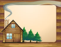 A house in front of the empty wooden template Royalty Free Stock Photo