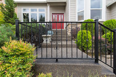 House Front Entrance with Wrought Iron Railings Stock Images
