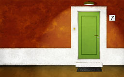 House front evening. 2d/3d illustration of a vivid colored house front at night Royalty Free Stock Image