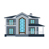 House front view vector illustration building architecture home construction estate residential property roof apartment. House front view vector illustration Stock Photos
