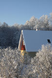 House on a frosty winter day Royalty Free Stock Photo
