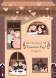 House full of couples in love Stock Photo