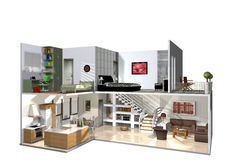Interior of modern two storied home. 3d illustration of interior of cut-away modern two storied home, white background