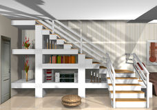 Stylish staircase in modern home Stock Photography