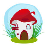 The house in the fungus. Residence worm or an insect. Flat illustration  on white background. Vector, EPS10. Royalty Free Stock Photo