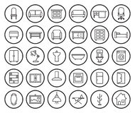 House furniture linear icons set Stock Photos